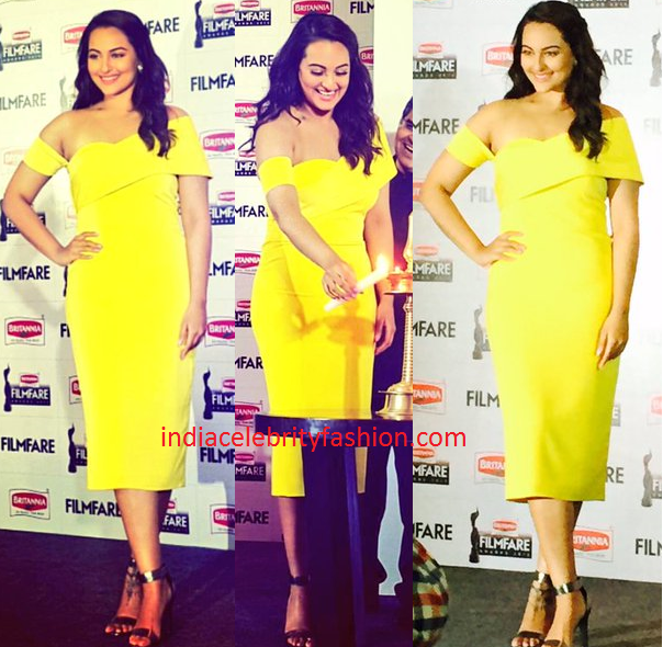 Sonakshi Sinha in Rutu Neeva Yellow Dress