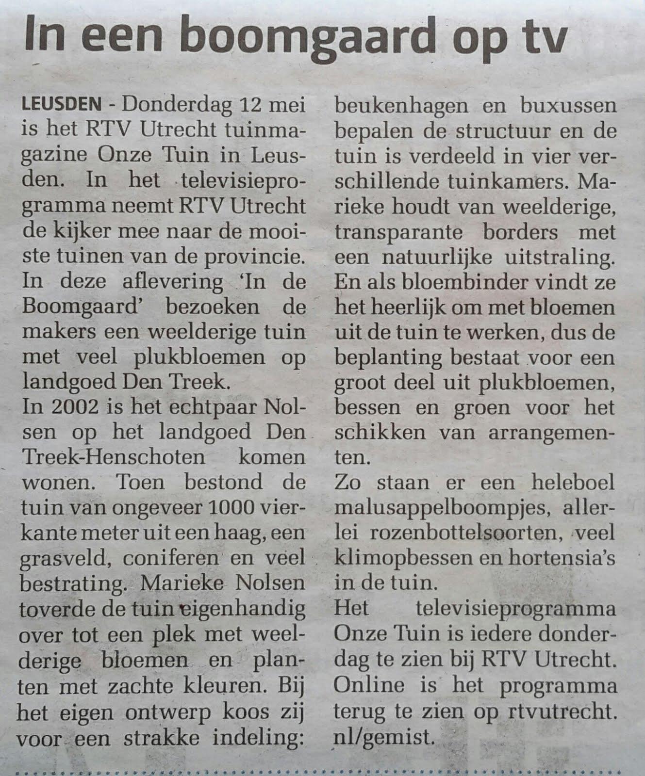 In de Boomgaard op RTV.Utrecht