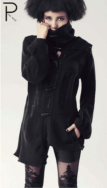 Autumn Black Punk Sweater Jacket for Women