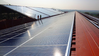 Solar Panels on Industrial Building Roof