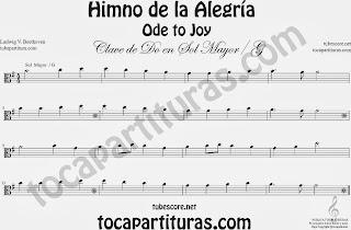 Partitura del Himno de la Alegría fácil en Sol Mayor e instrumentos de Clave de Do Viola