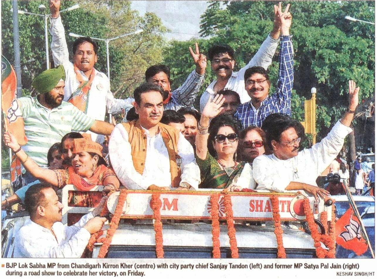 BJP Lok Sabha MP from Chandigarh Kirron Kher with former MP Satya Pal Jain during a road show to celebrate her victory on Friday