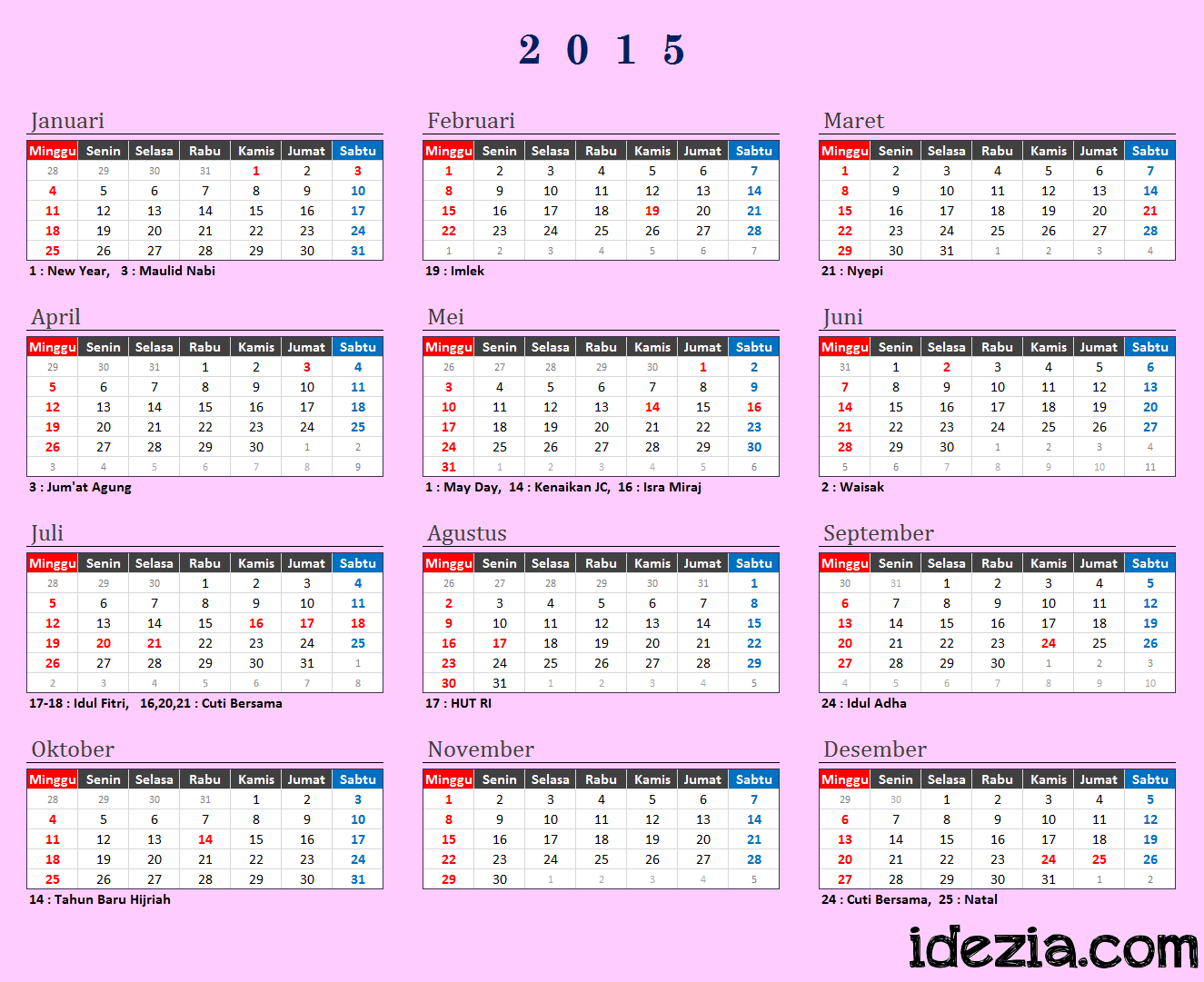 Download Kalender 2015 Indonesia