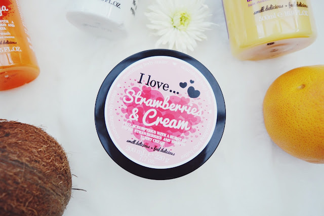 I Love... Strawberry & Cream body cream review, I Love... skincare review, beauty blog, FashionFake
