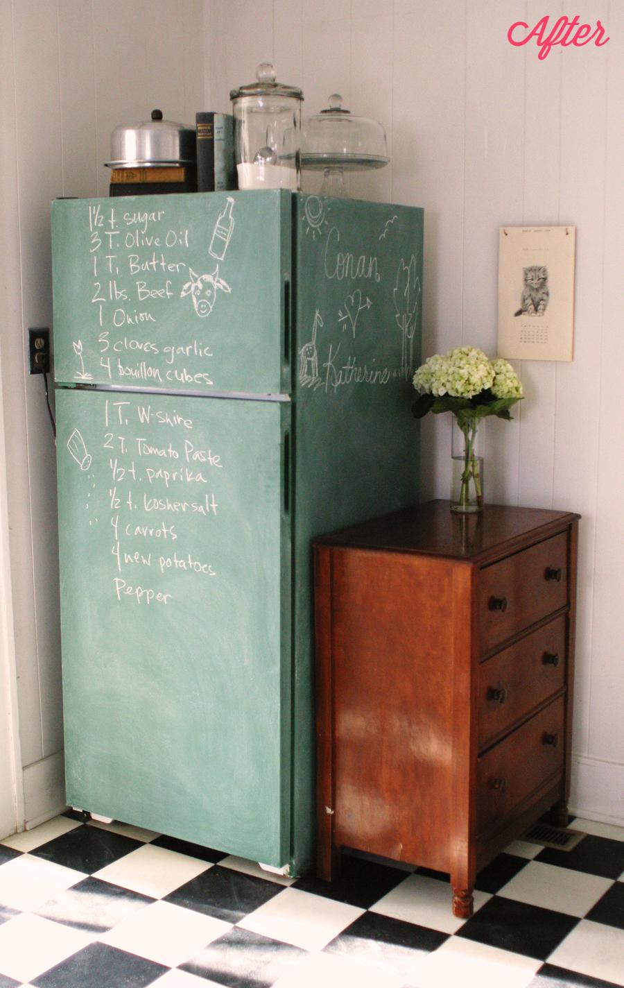 keep smiling chalkboard fridge kitchen ceiling progress. Black Bedroom Furniture Sets. Home Design Ideas
