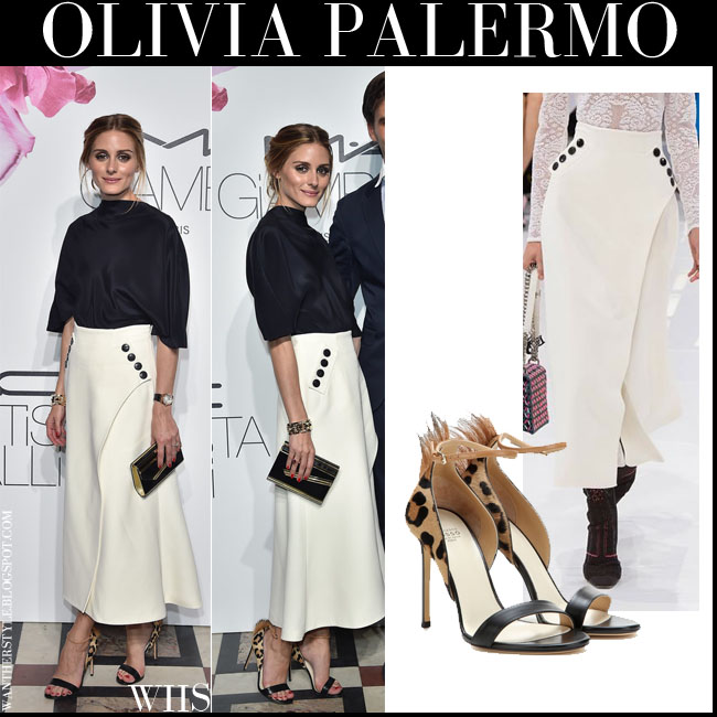 Olivia Palermo in leopard print fur detail sandals Francesco Russo with white skirt and black blouse what she wore july 6 fashion week