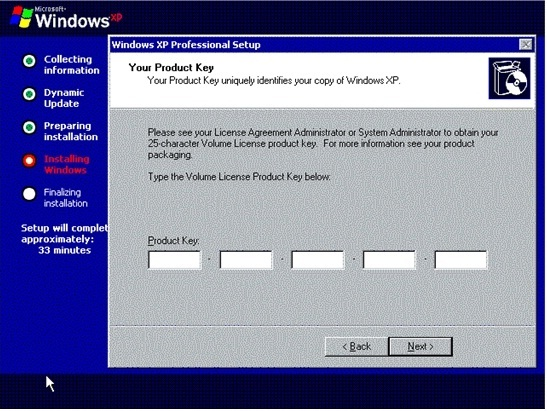 product key for windows xp professional