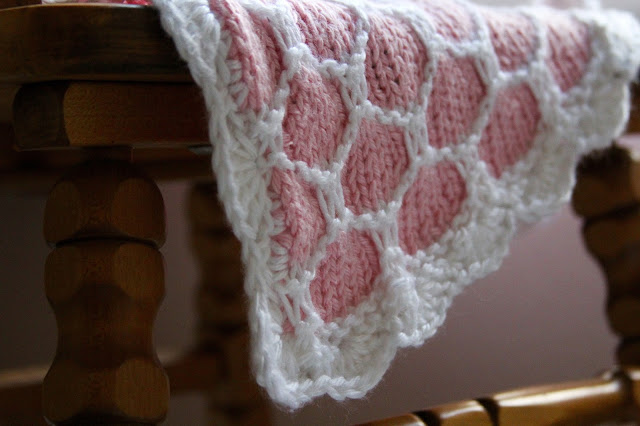 Crocheted Scalloped Edge on Honeycomb Blanket