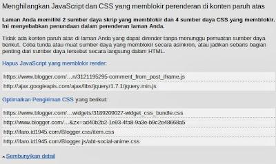 Javascript Warning Google PageSpeed