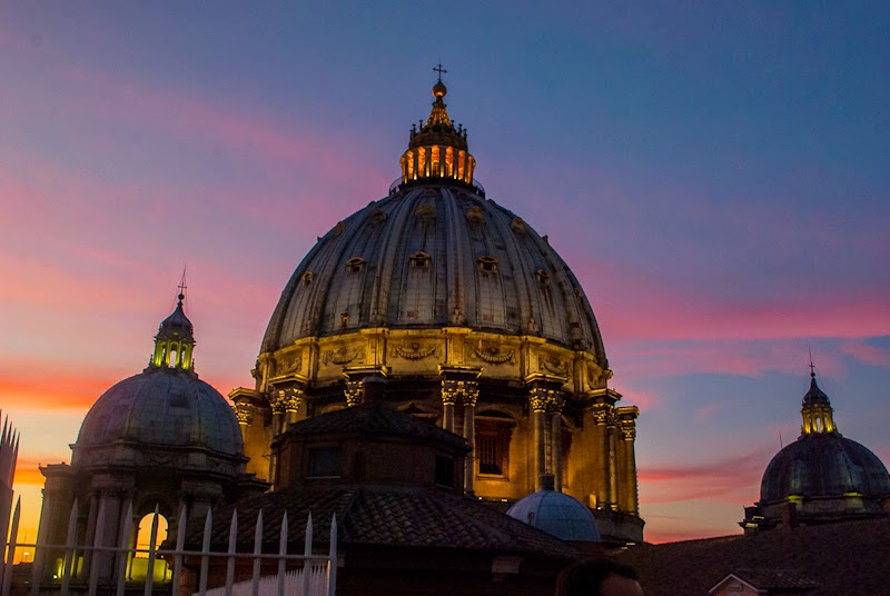 Vatican domes by night