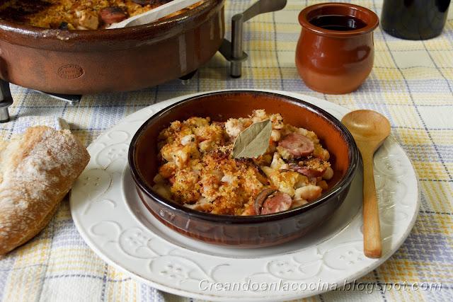 Cazuela de alubias blancas con pollo y salchichas dieta - Calorias alubias cocidas ...