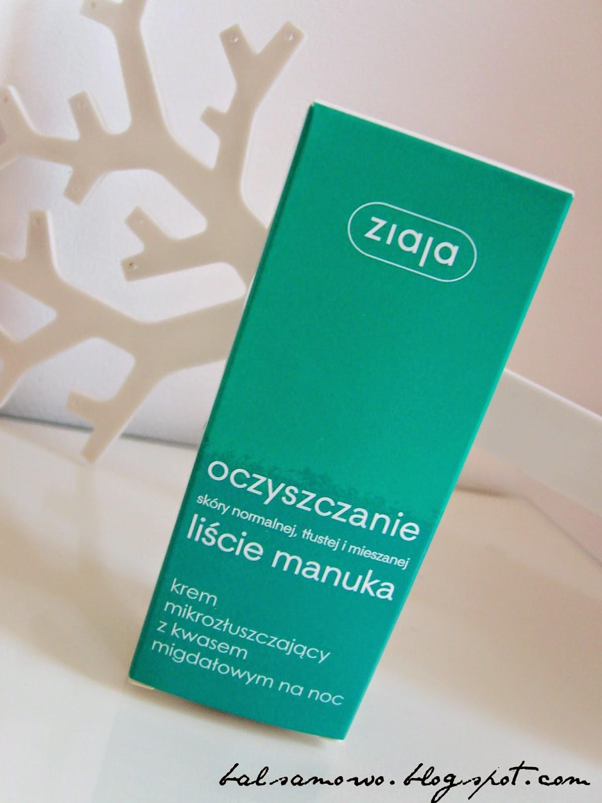 Ziaja Liście manuka: Krem mikrozłuszczający z kwasem migdałowym na noc