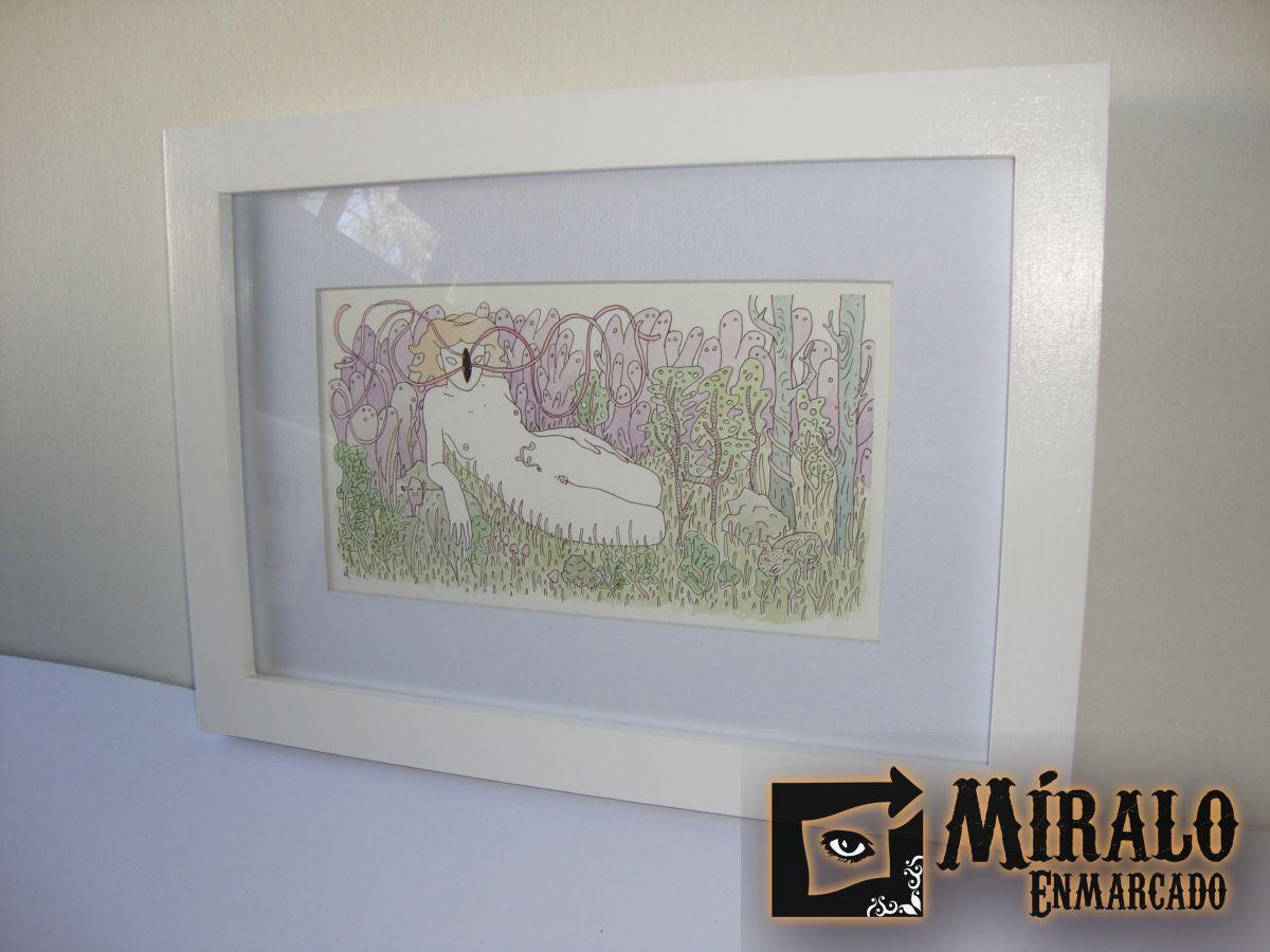 Enmarcado de dibujo obra de irene lasivita marco y for Enmarcado de cuadros precios