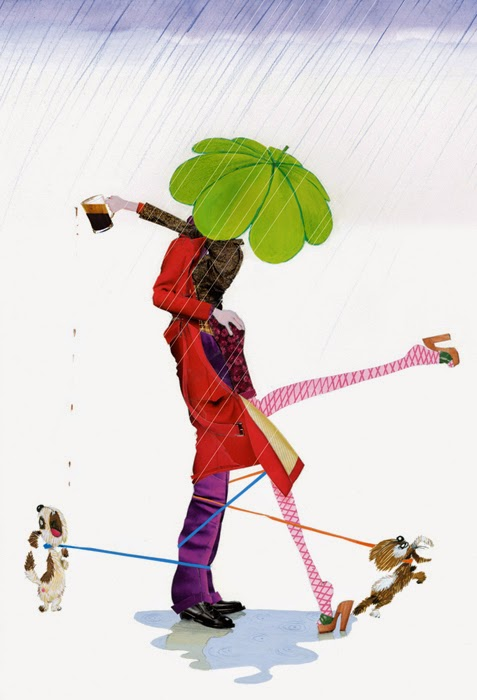 Saint Patrick's day illustration by Robert Wagt of a couple under a shamrock umbrella