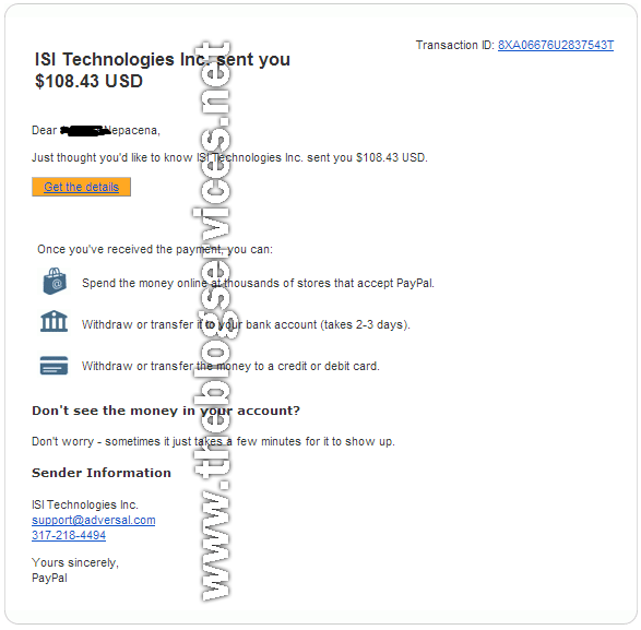 3rd Payout 108.43$ the 30days earnings on adversal for the month of April 2014