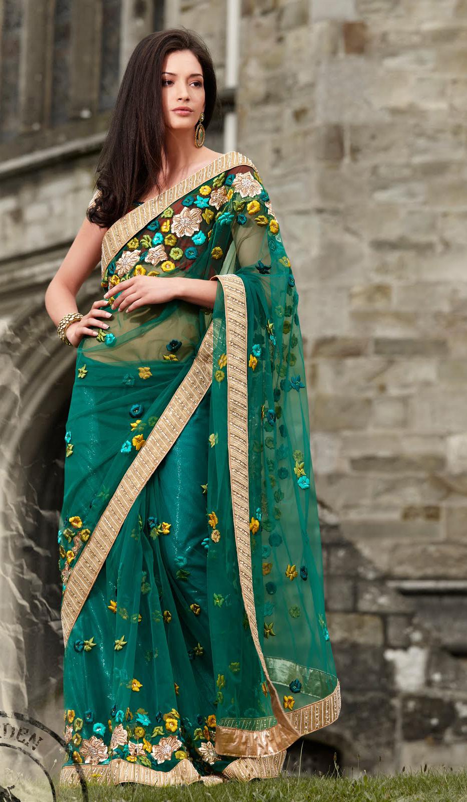 Fashion Magazine Sea Green Saree Collection