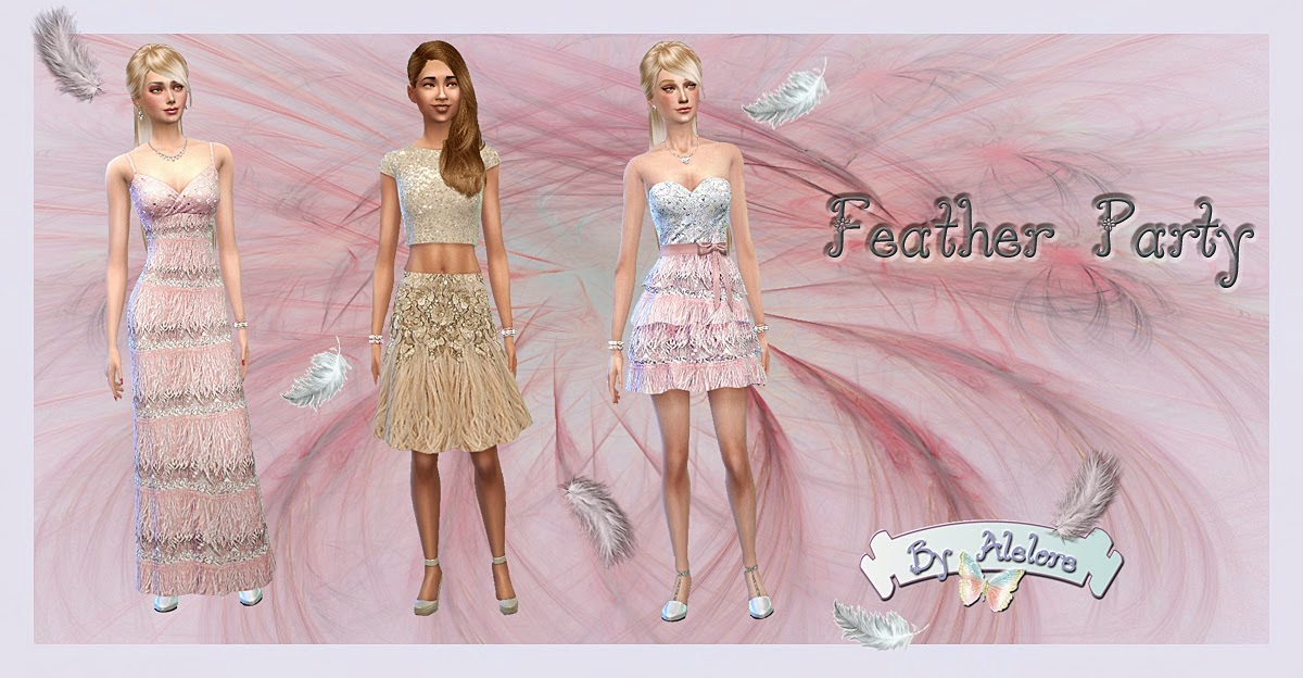 My Sims 4 Blog: Feather Party Dresses by Alelore