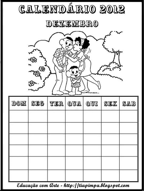 Calendário de 2012 Turma da Mônica para Imprimir e Colorir