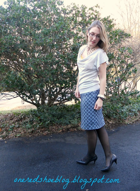 silk blue skirt and grey top from Ann Taylor