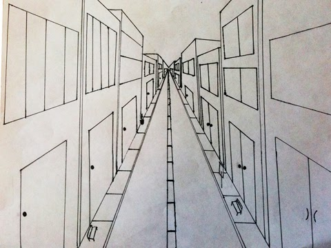 Sacred Heart art room: One point perspective street