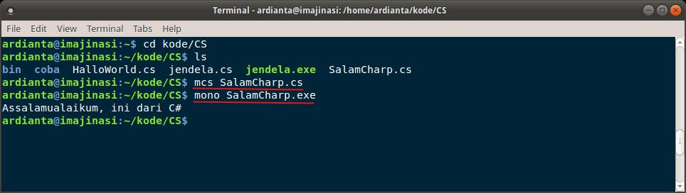Menjalankan berkas exe dengan mono