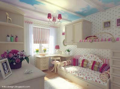 Cama beliche em quarto de menina