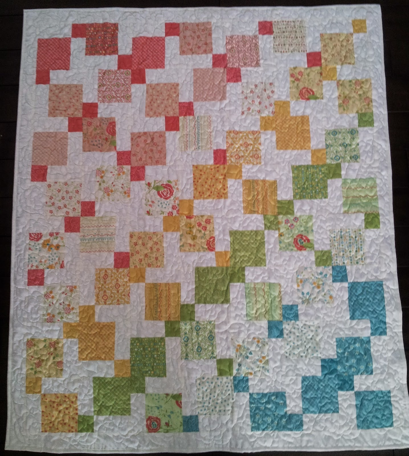 Free Quilt Patterns For Throws : Serena Bean Quilts: Disappearing Nine Patch Throw Quilt- Chance of Flowers