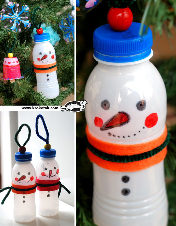 bottle snowmen ornaments - Recycled Christmas Ornaments