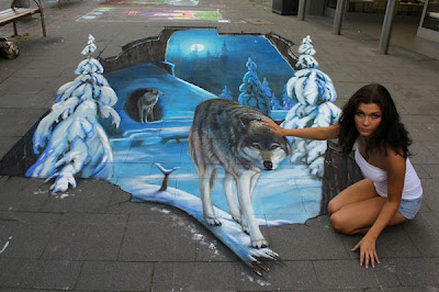 wolf optical illusion art - famous sidewalk art