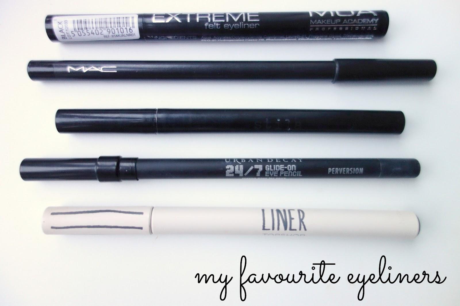 mua felt eyeliner pen, mac khol in smoulder, stila stay all day eyeliner pen, urban decay 24/7 pencil, topshop eyeliner