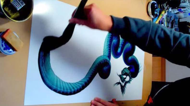 Artista pintura cuerpo de dragón en una sola pincelada maestra
