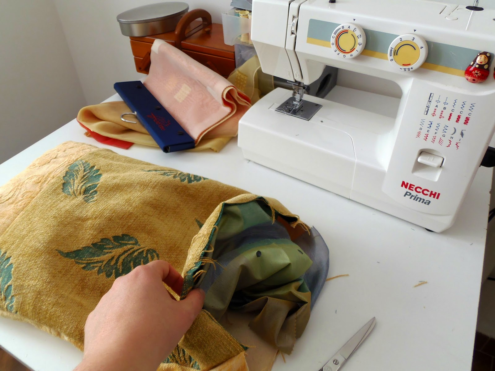 Making a recycled cat pillow