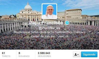 La cuenta en español del papa Francisco en la red social Twitter supera en número de seguidores al resto de cuentas del Pontífice, ocho en total, en otros idiomas.Con 2.588.352 de seguidores, la cuenta en español de Francisco se ha convertido en la más popular, seguida de cerca por su versión inglesa con 2.587.681 seguidores y por la italiana con 815.521. Los expertos también han observado un notable crecimiento en las últimas semanas del número de seguidores de la versión portuguesa de Twitter, con 383.829, gracias en parte a la inminente celebración de las Jornadas Mundiales de la Juventud (JMJ)