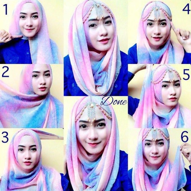 tutorial hijab pesta simple segi empat modern terbaru 2015