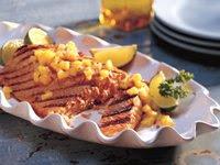 Grilled Ginger-Teriyaki Salmon with Honey-Mango Salsa