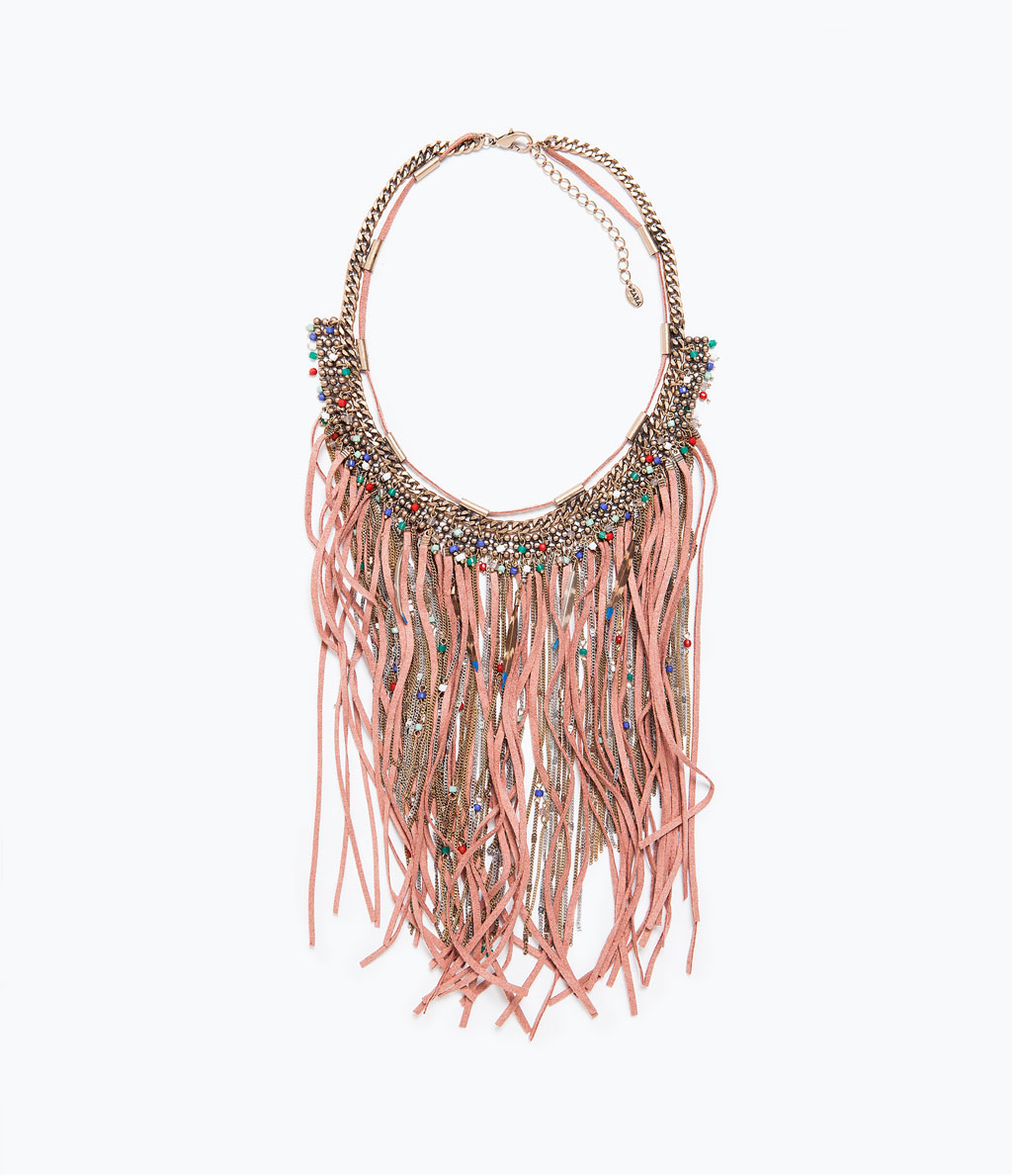 pink zara fringe chains feather necklace