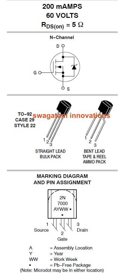 Low Power Small Signal Mosfet 200ma 60 Volts Datasheet