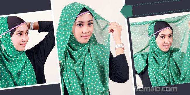 Gaya Jilbab Sifon Kreasi Dengan Headband