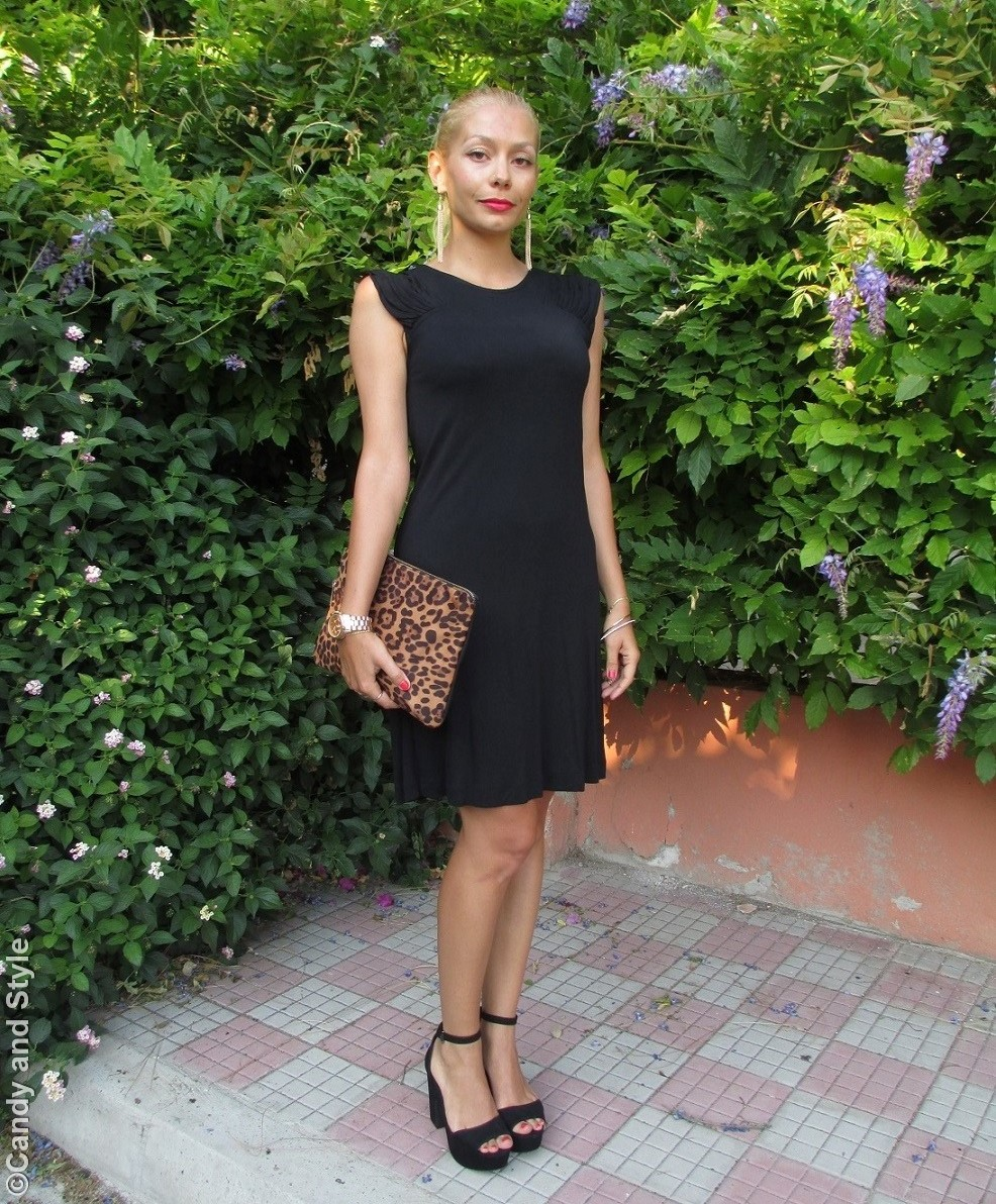 Black Dress, Leopard Clutch, Black Sandals - Lilli, Candy and Style Fashion Blog