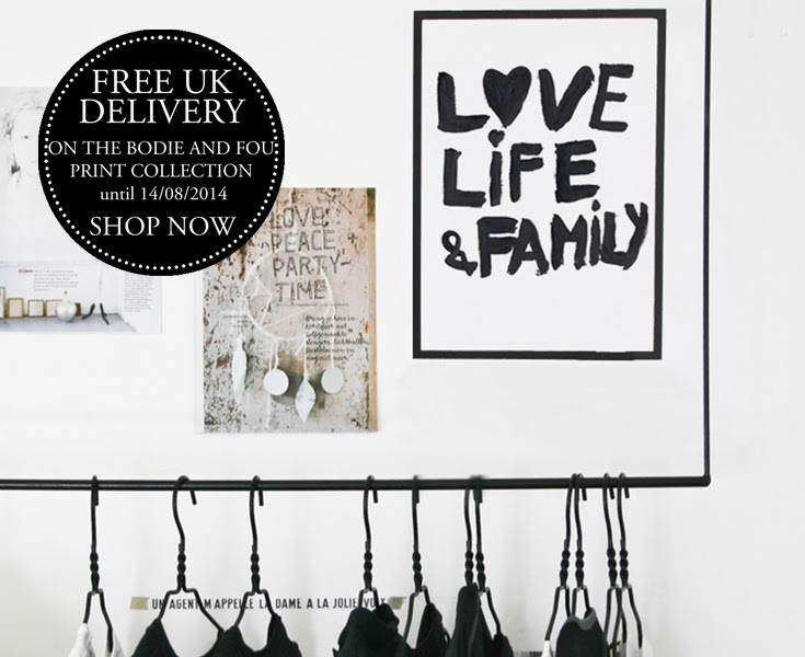 FREE UK DELIVERY on BODIE and FOU prints collection until 14th August 2014