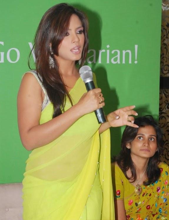 nitu chandra hot navel hd pics in transparent yellow saree