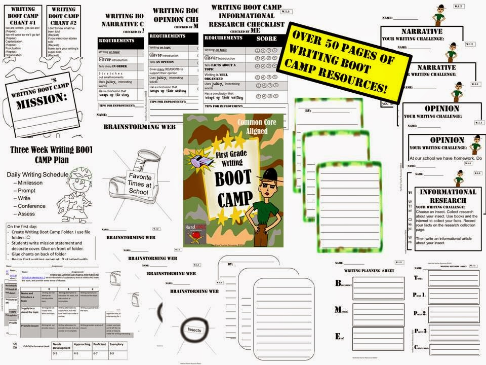 http://www.teacherspayteachers.com/Product/First-Grade-Writing-BOOT-CAMP-Common-Core-W11-W12-W13-675697