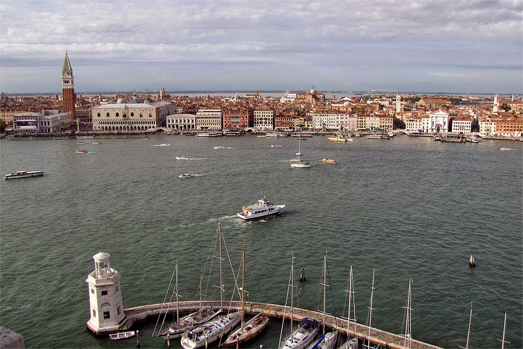 Piazza San Marco and Riva degli Schiavoni from the bell tower of San Giorgio Maggiore, Venice