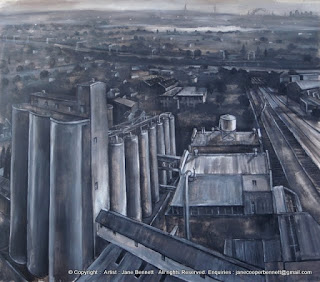 Urban decay and Industrial heritage - charcoal and ink drawing of Mungo Scott Flour Mills Summer Hill by artist Jane Bennett
