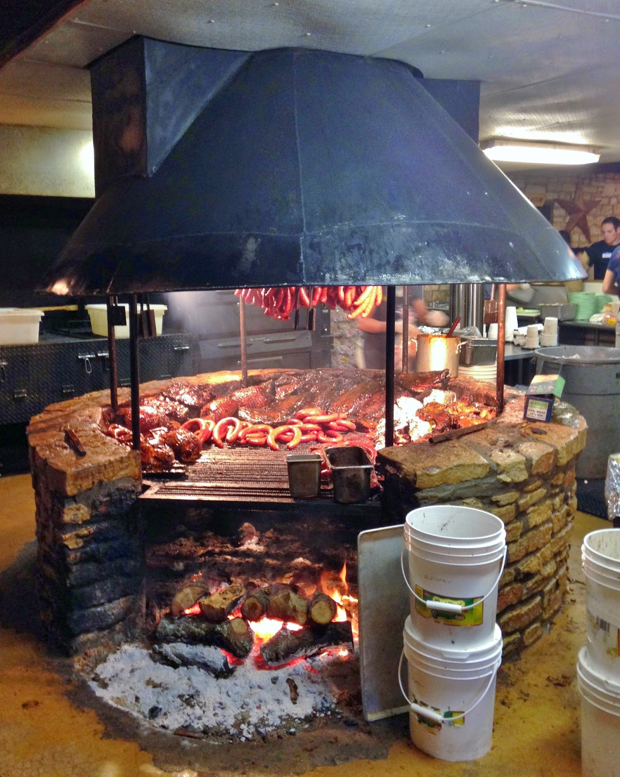 The iconic shot of the selection of smoked meats at The Salt Lick