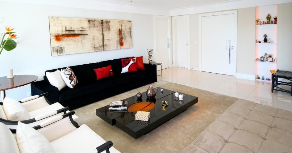 Fotos De Sala De Estar Com Sofa Preto ~ Casa da Sheila Salas de jantar e estar com toques de vermelho