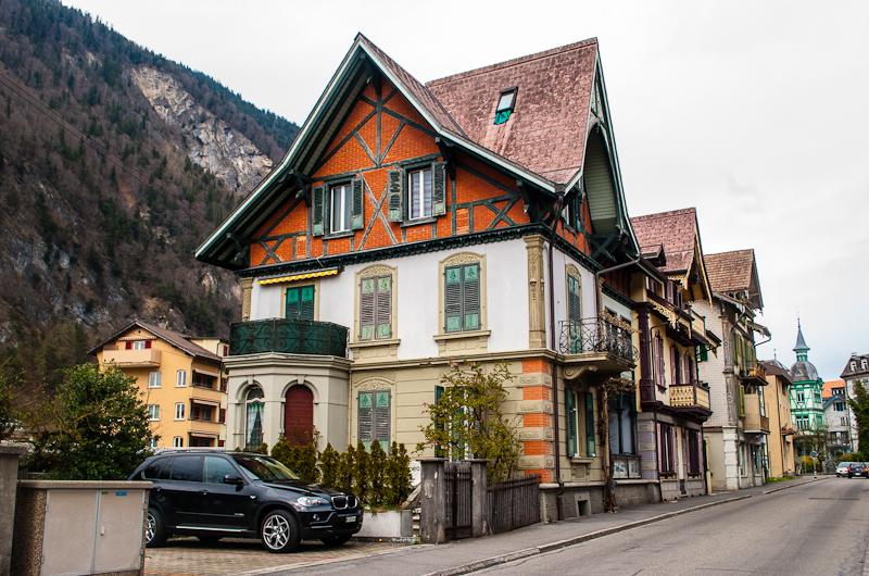 Old victorian esque houses in interlaken switzerland
