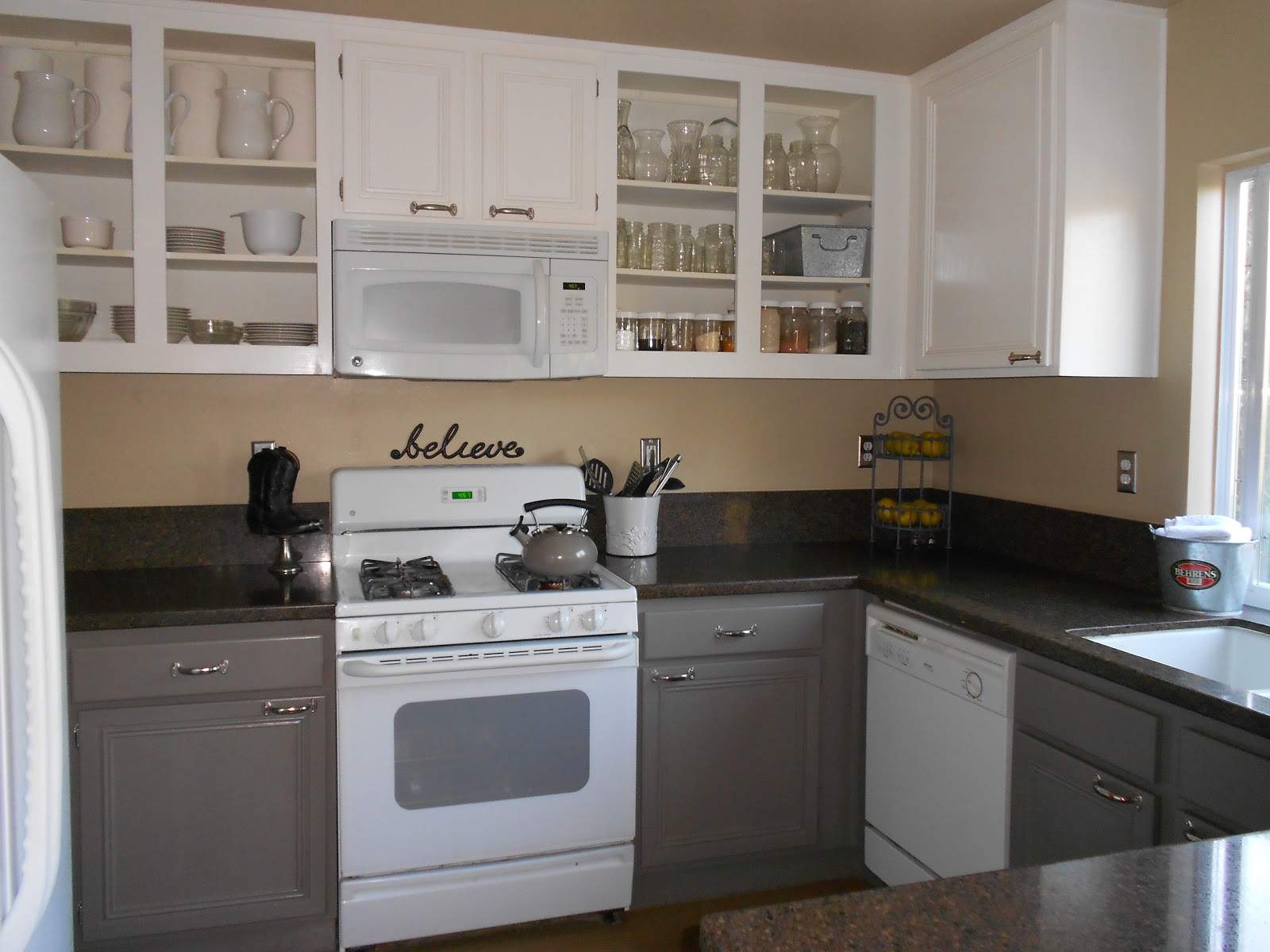 ... White Painted Kitchen Cabinets Before After