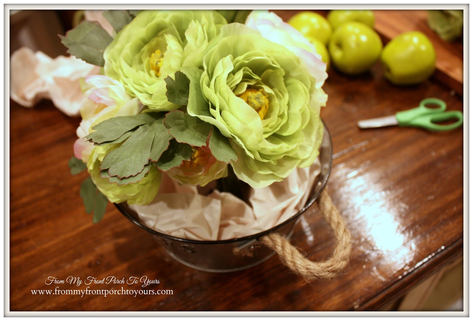 DIY Quick Spring Floral Arrangement- From My Front Porch To Yours