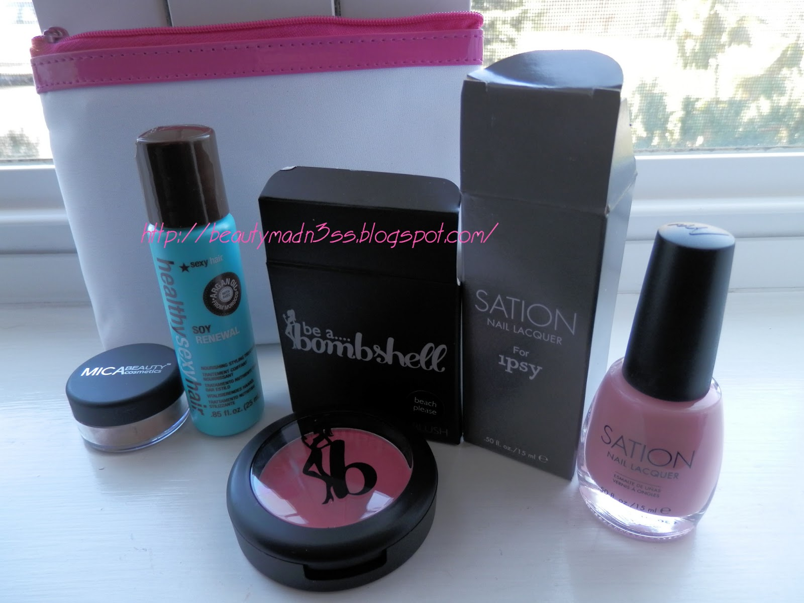 April Ipsy 2013, April Ipsy Glam Bag,Be A Bombshell, Be A Bombshell Beach Please, Sexy Hair Soy Renewal, Sexy Hair, MICABeauty Cosmetics,MICABeauty Cosmetics Mineral Eye Shadow Earth, Sation Nail Lacquer, Sation Nail Lacquer Of Corset I'll Call You